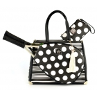 Court Couture Karisa Vintage Tennis Bag (Black Stripes & Dots) - Court Couture