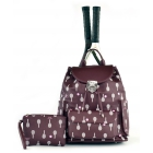 Court Couture Hampton Tennis Backpack (Merlot Printed) - Court Couture Tennis Bags
