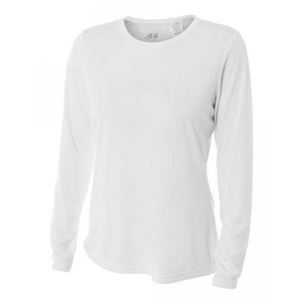 A4 Women's Performance Long Sleeve Crew (White)