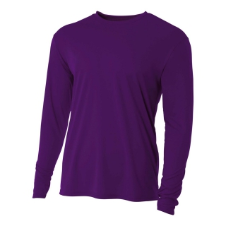 A4 Men's Performance Long Sleeve Crew (Purple)