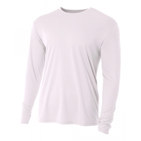 A4 Men's Performance Long Sleeve Crew (White)