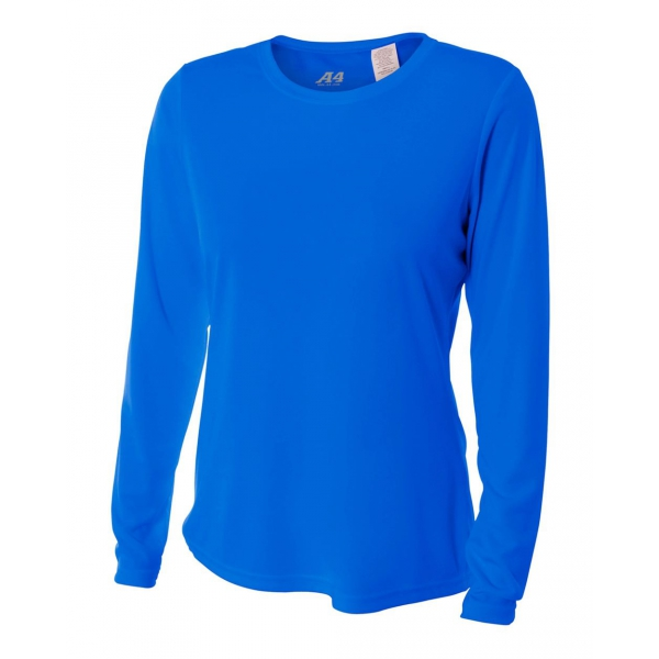 A4 Women's Performance Long Sleeve Crew (Royal)