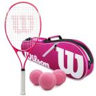 Wilson Serena Pro Lite Tennis Racquet Bundled with an Advantage II Tennis Bag and 3 Pink Tennis Balls -
