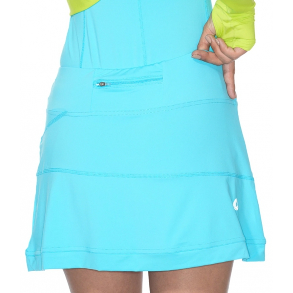 BloqUV Women's Medium Length Banded Skirt with Built In Shorties (Light Turquoise)