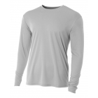 A4 Men's Performance Long Sleeve Crew (Silver) - A4 Men's Long-Sleeve Tennis Shirts