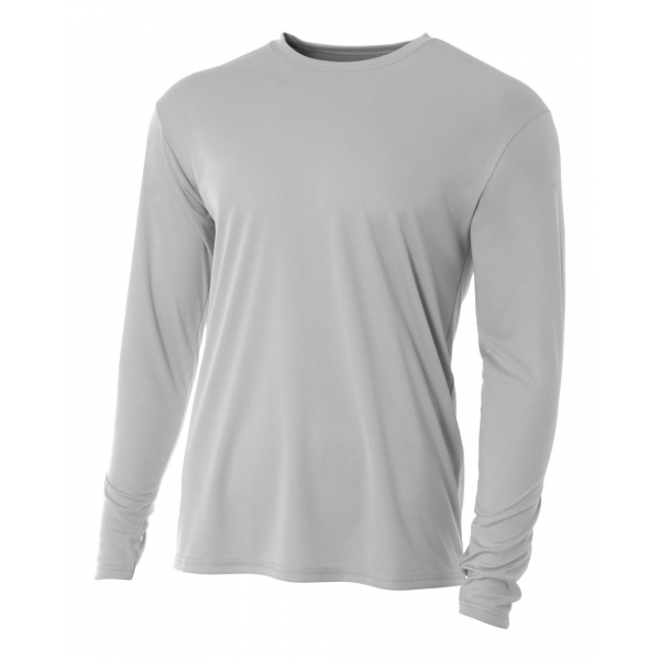 A4 Men's Performance Long Sleeve Crew (Silver)