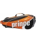 Prince Tour Team Orange 6 Pack (Black/ White/ Orange) - 6 Racquet Tennis Bags
