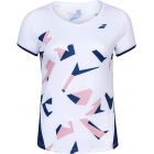 Babolat Girls Compete Cap Sleeve Tennis Top with Performance Polyester (White/Estate Blue) - Girl's Tops