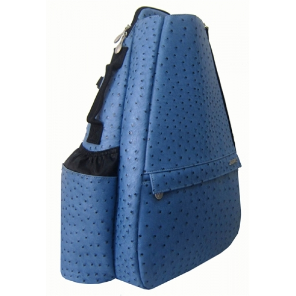Jet Ostrich Blue Steel Small Sling