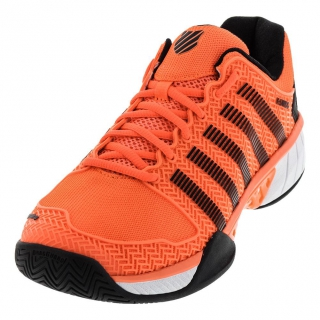 K-Swiss Men's Hypercourt Express Leather Tennis Shoes (Neon Blaze/White/Black)