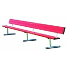 7.5' Permanent Bench w/back (Assorted Colors) - Sports Equipment