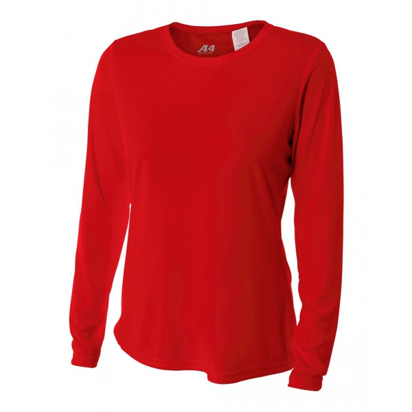 A4 Women's Performance Long Sleeve Crew (Scarlet)