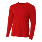 A4 Men's Performance Long Sleeve Crew (Scarlet) - A4 Men's Long-Sleeve Tennis Shirts