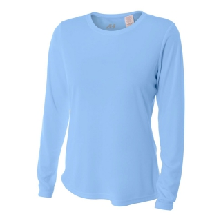 A4 Women's Performance Long Sleeve Crew (Light Blue)