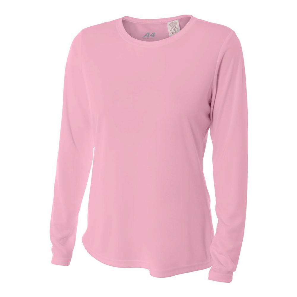 A4 Women's Performance Long Sleeve Crew (Pink)