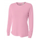 A4 Women's Performance Long Sleeve Crew (Pink) - Women's Tennis Apparel