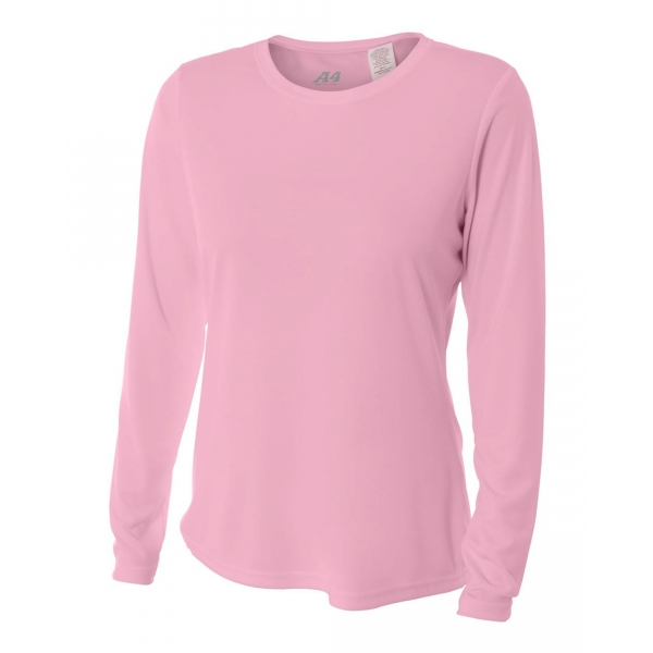 A4 Women's Performance Long Sleeve Crew (Pink)