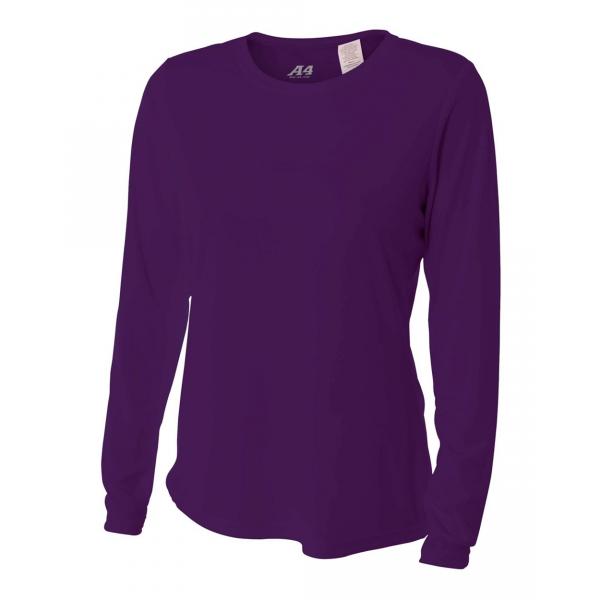 A4 Women's Performance Long Sleeve Crew (Purple)