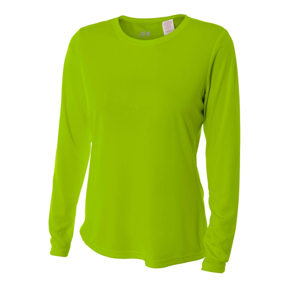 A4 Women's Performance Long Sleeve Crew (Lime)