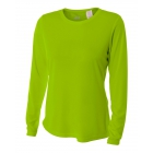 A4 Women's Performance Long Sleeve Crew (Lime) -