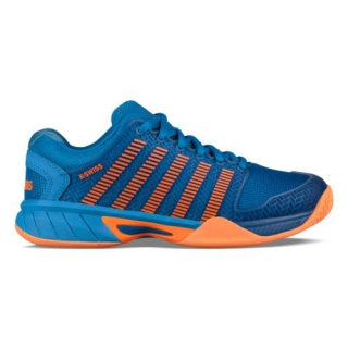 K-Swiss Junior Hypercourt Express Tennis Shoe (Brilliant Blue/Neon Orange)