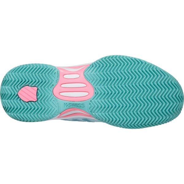 K-Swiss Junior Hypercourt Express 2 Kids' Tennis Shoes, Aruba Blue/White/Soft Neon Pink