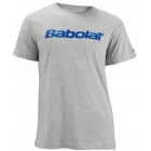 Babolat Men's Logo 2 T-Shirt (Gry/ Blu) - Men's Tops T-Shirts & Crew Necks Tennis Apparel