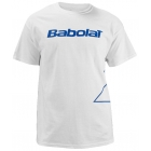 Babolat Men's Outlined Logo T-Shirt (Wht/ Blu) - Men's Tops T-Shirts & Crew Necks Tennis Apparel