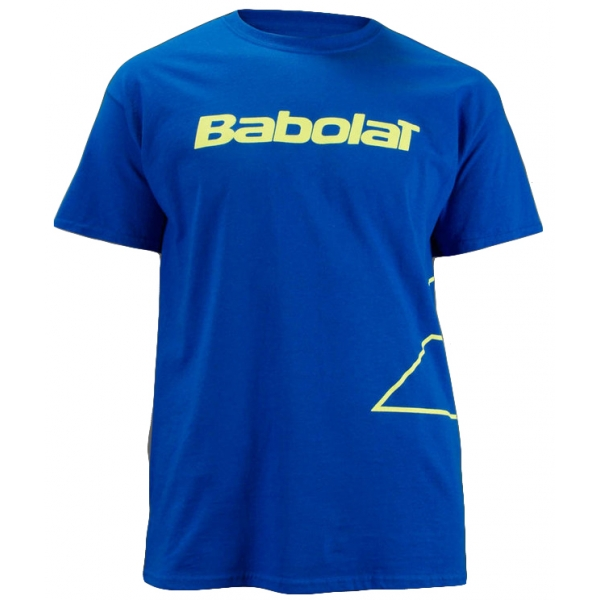 babolat mens outlined logo tshirt blue yellow do it