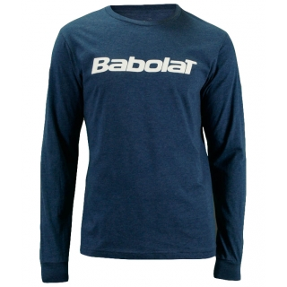 Babolat Men's Logo Long Sleeve (Heather Navy/ White)