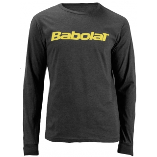 Babolat Men's Text Logo Long Sleeve (Heather Grey/ Yellow)
