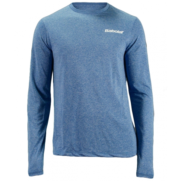 Babolat Men's Text Logo Long Sleeve (Heather Blue/ White)
