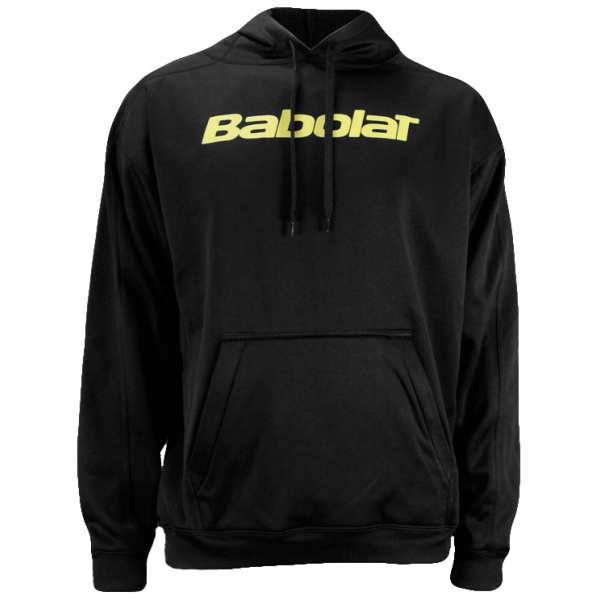 babolat mens text logo hoody black yellow do it tennis