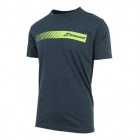Babolat Men's Stripe Logo Tee (Charcoal) - Babolat Men's Apparel