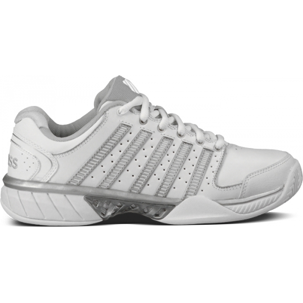 K-Swiss Women's Hypercourt Express Leather Tennis Shoes (White/ Silver)