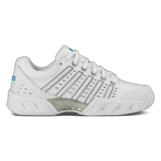 K-Swiss Women's Bigshot Light Leather Tennis Shoes (White/Hawaiian Ocean)