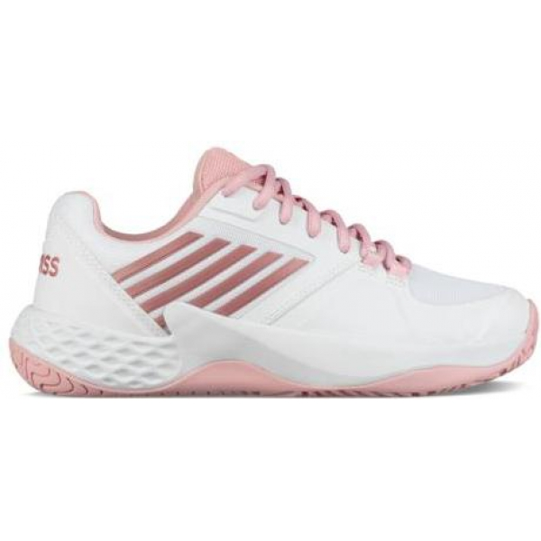 K-Swiss Women's Aero Court Tennis Shoes (White/Coral Blush/Metallic Rose)