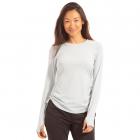 BloqUV Women's Drawstring Crew Neck Long Sleeve Sun Shirt (Soft Gray) -