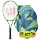Wilson Blade Feel Kids Tennis Racquet bundled with a Blue/Green Junior Tennis Backpack and a Can of Tennis Balls -