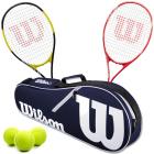 Wilson Energy XL + Envy XP Mixed Doubles Tennis Racquet Bundle w an Advantage II Tennis Bag and 3 Tennis Balls -