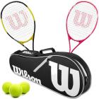 Wilson Energy XL + Serena Pro Lite Mixed Doubles Tennis Racquet Bundle w an Advantage II Tennis Bag and 3 Tennis Balls -