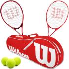 Wilson Precision XL + Envy XP Mixed Doubles Tennis Racquet Bundle w an Advantage II Tennis Bag and a Can of Tennis Balls -
