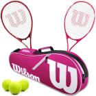Wilson Precision XL + Serena Pro Lite Mixed Doubles Tennis Racquet Bundle w an Advantage II Tennis Bag and a Can of Tennis Balls -