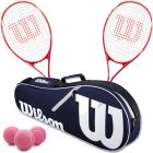 Wilson Envy XP Lite Tennis Racquet Doubles Bundle w an Advantage II Tennis Bag and 3 Pink Tennis Balls -
