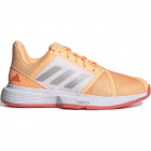 Adidas Women's CourtJam Bounce Tennis Shoe (Acid Orange/Silver Metallic/Hazy Rose) -
