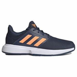 FX1555 adidas Men's GameCourt tennis shoes (Crew Navy / Screaming Orange / Cloud White)