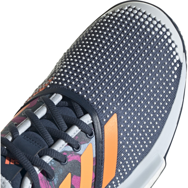 FX1730.adidas Men's SoleCourt Primeblue tennis shoe (Halo Blue / Screaming Pink / Screaming Orange)