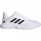 Adidas Men's CourtJam Bounce Tennis Shoe (Flat White/Core Black/Silver Metallic) -