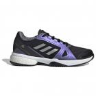 Adidas Women's Stella Court Tennis Shoe (Core Black/Silver Metallic/Cloud White) -