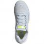 G55659 adidas Women's Stella McCartney Barricade Boost tennis shoe (Halo Blue/Silver Metallic/Solar Yellow)